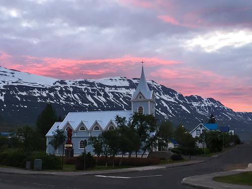 seyðisfjörður east iceland church sunset