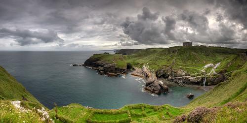 castle tintagelcastle greatbritain panorama hdr seascape tintagel cornwall england landscape vereinigteskönigreich gb