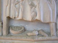 seven sacrament font: Last Rites - chamber pot and shoes