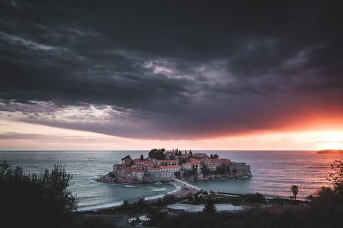 svetistefan fujixpro2 sunset travel coast island mood montenegro balkan europe thunderstorm clouds opštinabudva me