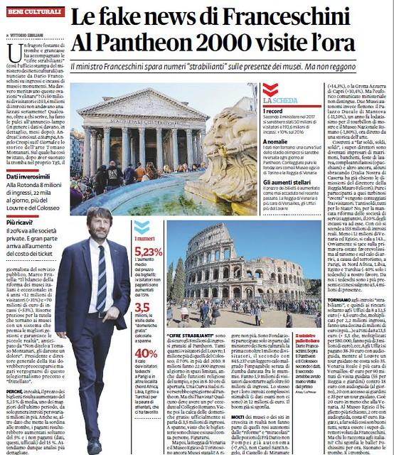 ROMA ARCHEOLOGIA e RESTAURO ARCHITETTURA. Le fake news di Franceschini. Al Pantheon 2000 visite l'ora.  Il Fatto Quotidiano (15/01/2018) [in PDF].