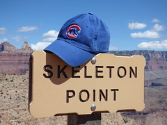 Grand Canyon - South Kaibab Trail, Cubs hat at Skeleton Point