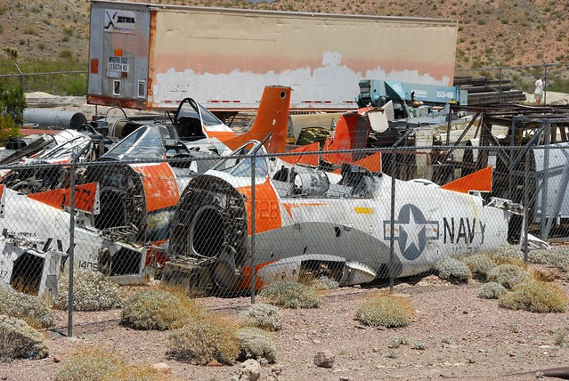 T-28B & T-28C stored fuselages at the Nelson yard. In front is T-28B Trojan 138281/728 ex VT-27 U.S.Navy. Stored/ Dismantled, Nelson, Nevada. 07-06-2016.