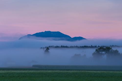faakamsee karnten austria carinthia osterreich summer mountains alps dobratch morning sunrise pink mountain village mist fog layer church tower rural