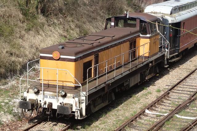 CFVE Diesellocomotive N° BB 63813 in Pacy-sur-Eure.