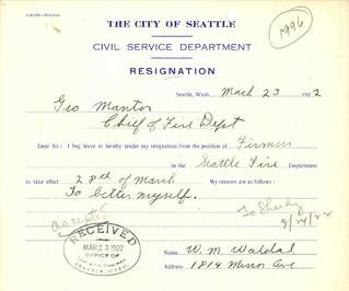 Fireman's resignation, 1922