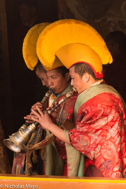 Playing Horns At The Torgya Festival