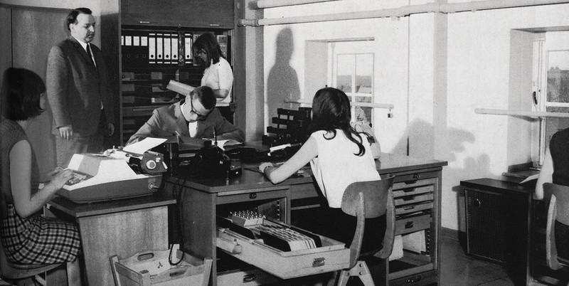 Berufsschule Bottrop, Übungsbüro, Mitte der 1960er