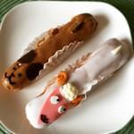 パティスリー ル・ポミエのエクレールシアン🐶とエクレールムートン🐑 #eclair #chien #mouton #dog #sheep #yummy #sweets #lepommier #france #fair