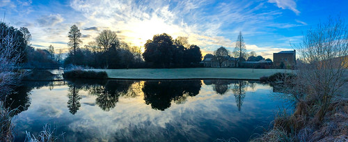 iphone panorama blue sky greatconservatory grass reflection water landscape lake architecture winter mist frost building beauty bridge brentford isleworth london middlesex sunlight sun sunrise gardens horizon skyline nature simonandhiscamera dome syonhousepark syon syonpark syonhouse symmetry shade shadow outdoor cloud fog trees