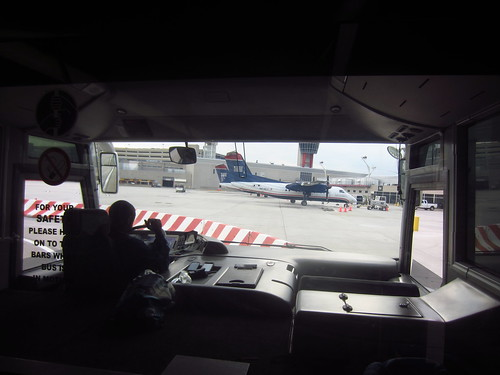 View from a bus at the airport