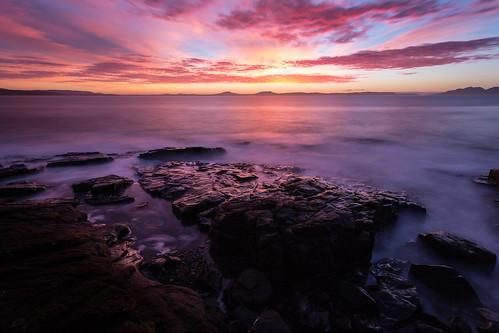 swansea sky sea sunrise nd ndfilter neutraldensityfilter eastcoasttasmania ef1740mmf4lusm tasmania tasmanian thehazards landscape lightroom4 longexposure ocean rocks color water