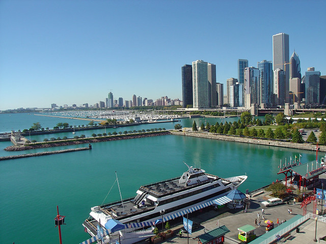 Lake Michigan & Chicago Skyline as seen from Ferris Wheel Drive at Navy Pier in Chicago, IL