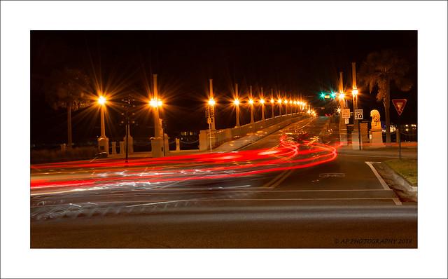 Light trails over The Bridge of Lions