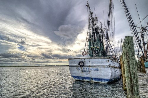 southcarolina shrimpboat water port moored rope sky storms