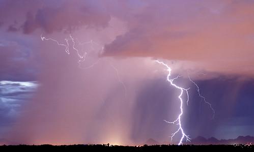 city sunset summer arizona clouds tucson monsoon thunderstorm lightning thunder rainshaft