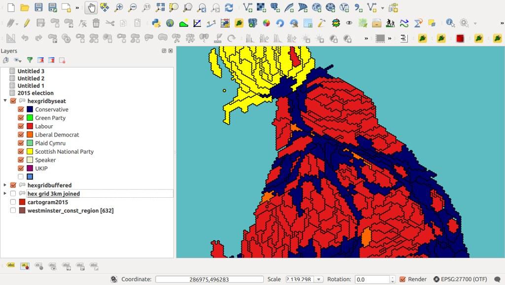 Hexagonal cartogram in QGIS   using QGIS to make a hexagonal