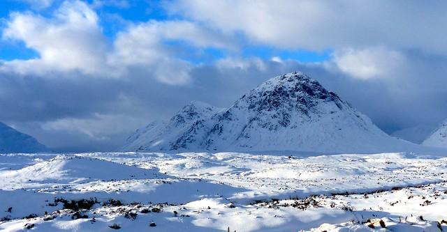 Buachaille Etive Mor and Rannoch Moor after snowfall.