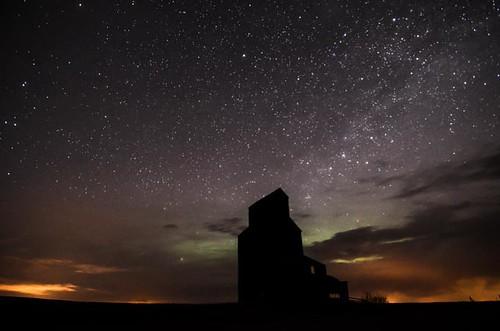 old canada night stars aurora ghosttown saskatchewan northernlights bents