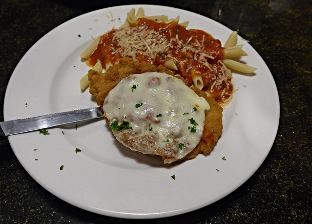 Chicken parmesan with pasta, Wigwam Cafe, Wahoo