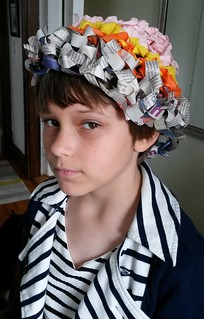 Harriet in second compostable worm hat made from crocheted newspapers and crepe paper