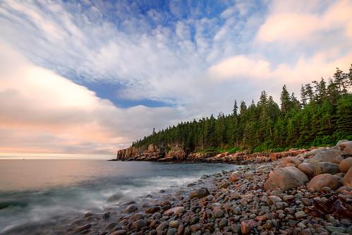 landscape acadia nationalpark acadianationalpark maine coast coastal beach mountdesertisland mdi sunrise clouds ocean color rocks granite sony a99 sonya99 zeiss zeiss1635 summer polarizer wideangle