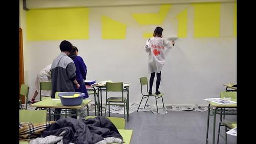 perspectiva en pared de aula