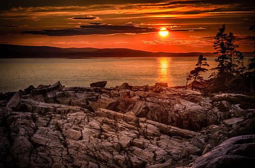 ocean sunset usa weather clouds maine manipulations hdr highdynamicrange schoodicpoint winterharbor hancockcounty acadianpschoodicpeninsula