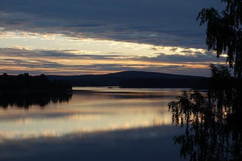 outdoor landscape serene sky water lake islands sunrise midsummer summer early morning view east
