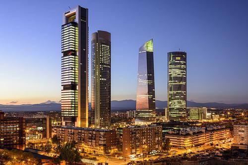 Las cuatro torres son el simbolo del Madrid moderno. Torre Foster, torre PWC, torre de Cristal y torre Espacio