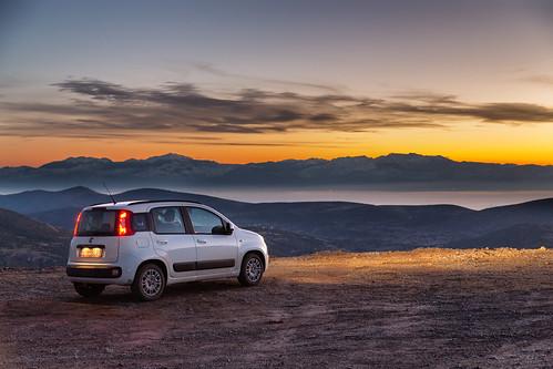 sunset mountain car greek greece parnasos