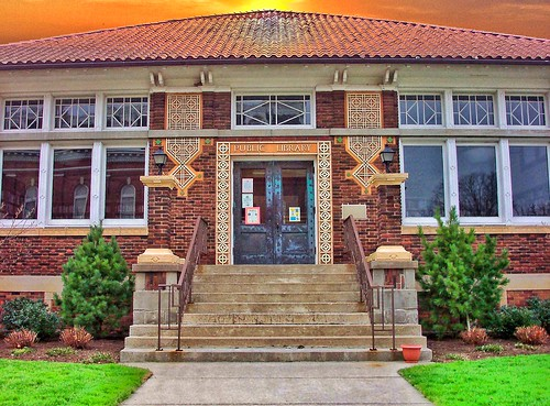 park door school sunset ohio sky chicago milan public architecture clouds square thomas library style historic oh fl register wright terra cotta edison attraction carnegie portico influence eriecounty nrhp huroncounty onasill