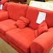 3+1+Poof dark red fabric suite