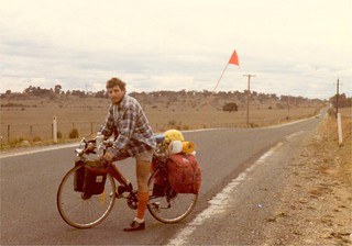 John Englart on bicycle, May 17, 1981 Road to Tarago