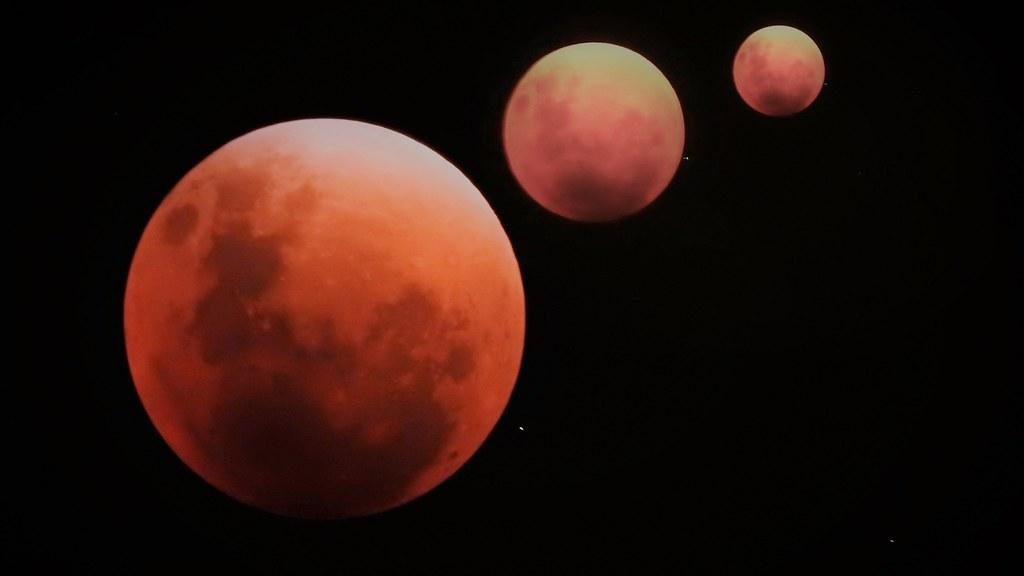 Super Lua - 3 MOONS   Photo Edition Eclipse Lunar Total e Su