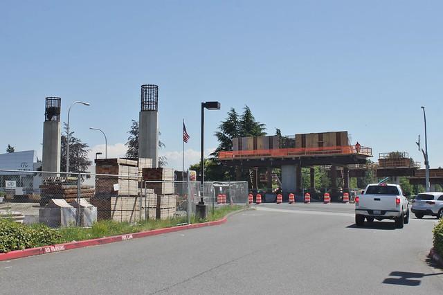 Wilburton Station construction, May 2018