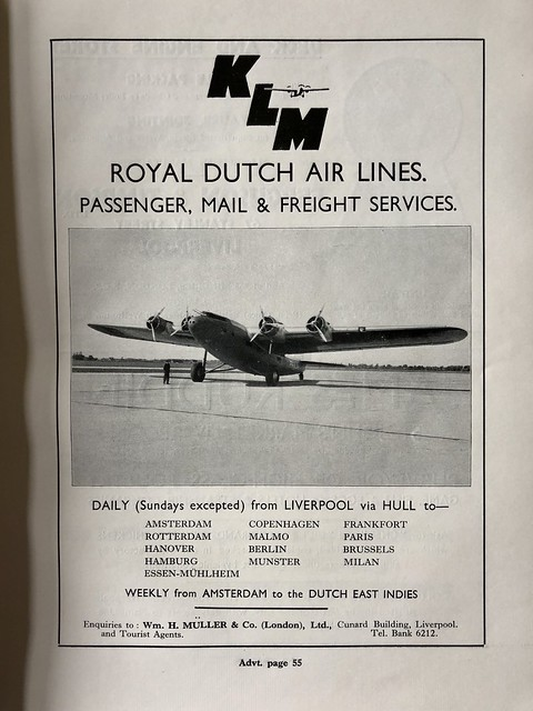 KLM Royal Dutch Airlines - flights from Liverpool Airport, 1932/33