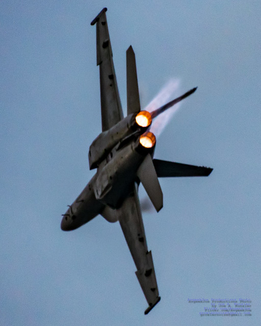 F/A-18E PURPLE AFTERBURNERS AGAINST THE PURPLE SUNSET