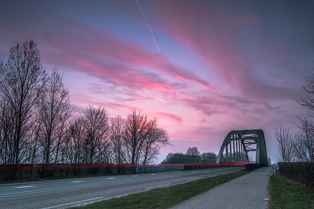 Sunset at the IJssel Road Bridge - Doesburg