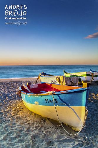 sea españa beach sunrise canon boats boat mar barca playa andalucia amanecer barcas malaga nerja orilla axarquia 60d canon60d
