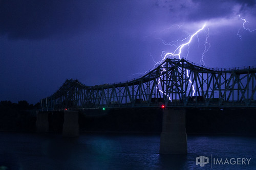 ohioriver owensboro blue bridge glovercary landscape lightning nature night storm