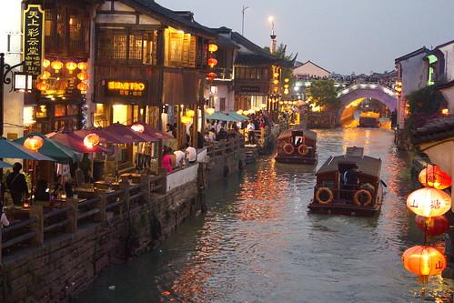 china venice sunset night boat asia suzhou nightlife venecia xina shangtang vencezia