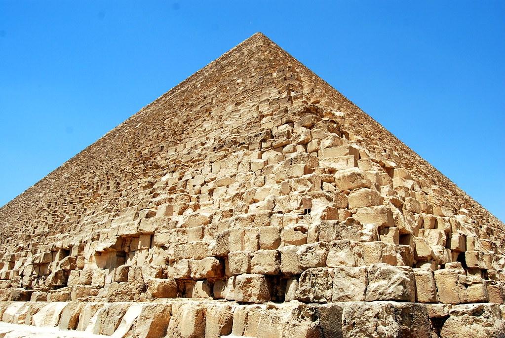Great Pyramid of Khufu close up on the Giza Plateau outsid