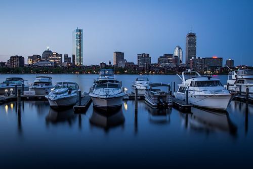blue cambridge boston skyline sunrise river boat yacht charlesriver warer