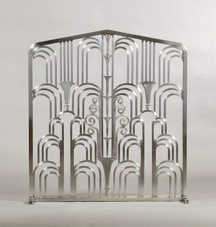 Art-Deco Fireplace Grill based on Edgar Brandt's work at The Belmont- Cheney Building, W. 34th Street, NY