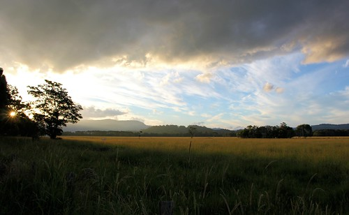 sunset sun field grass clouds nsw mullumbimby
