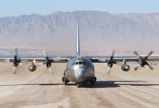 L-100 Hercules S9-BAT c/n 4134 National-Airlines Silver/ Blue c/s. Tarin-Kowt, Afghanistan. 13-12-2009.