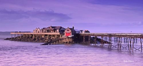 blue sea sky seascape station canon eos pier ruins mare colours somerset super lifeboat weston derilict burnbeck