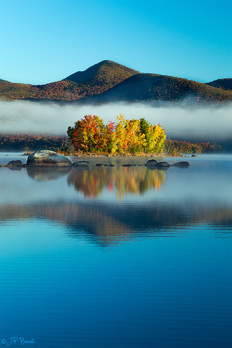 autumn trees sky reflection nature water fog clouds sunrise island rocks vermont reservoir foliage boulders greenmountains chittenden cs6 24105l lr5 5dii jpbenante