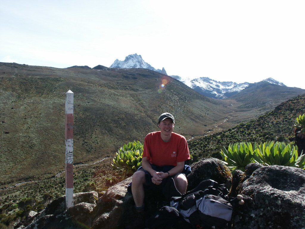 Taking a rest in the Teleki Valley with Mount Kenya behind me.